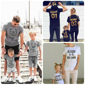 f1357977ea2f Dad Mom Baby Kid T-shirt Tops Tee Shirt Blouse Family Matching ...