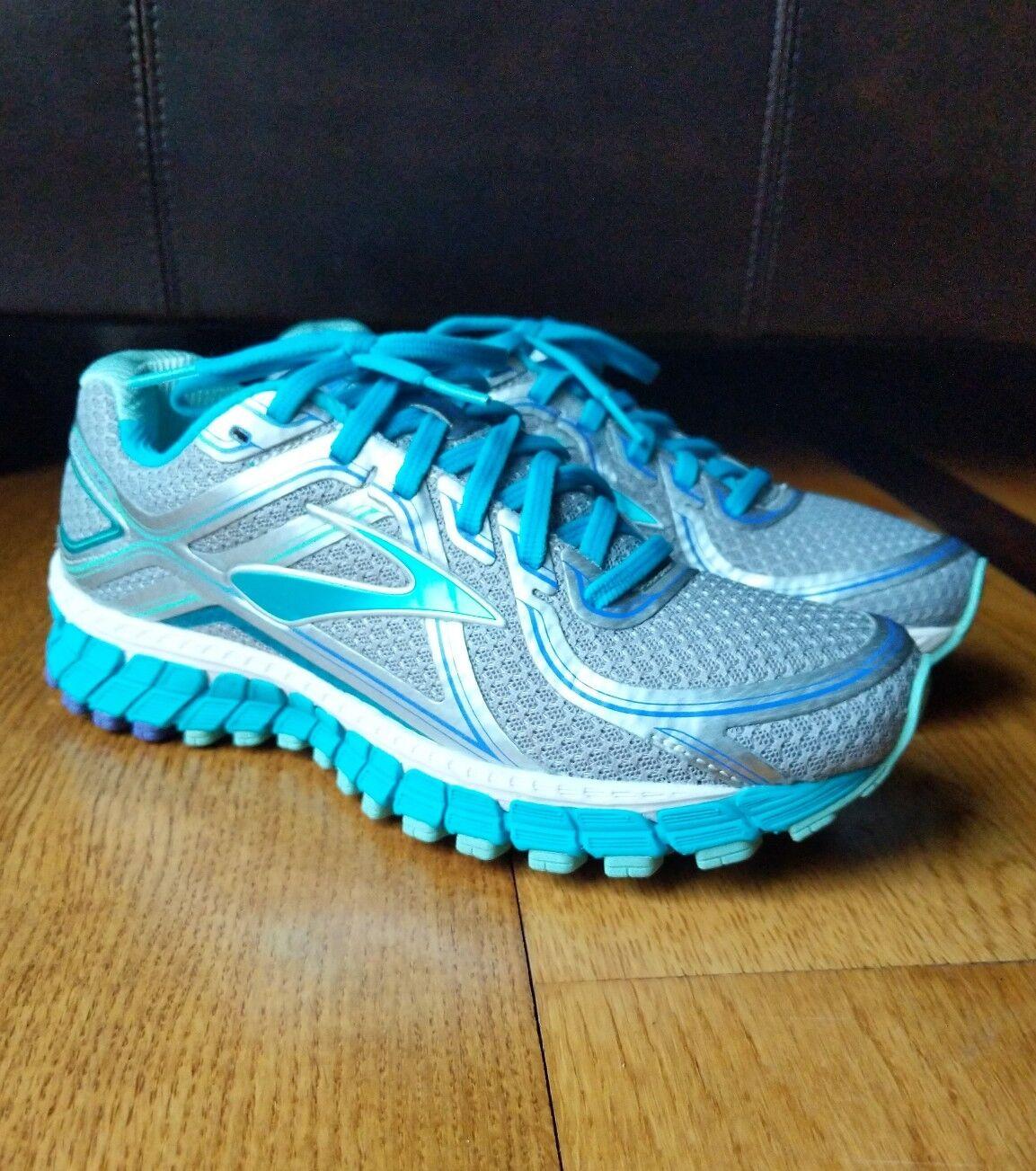Brooks Damenschuhe Adrenaline GTS-16 Sneaker Silver/Blaubird SIZE 7 NARROW (2A)