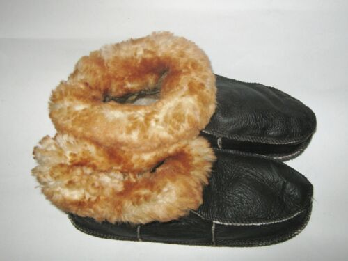 Men/'s Brown Soft Sole Booty Style Sheepskin Slippers Real Leather all sizes NEW