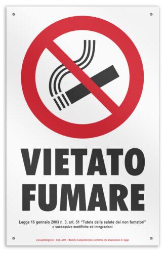 """Cartello in vinile con fori /""""VIETATO FUMARE/"""" negozio//studio//laboratorio//officina"""