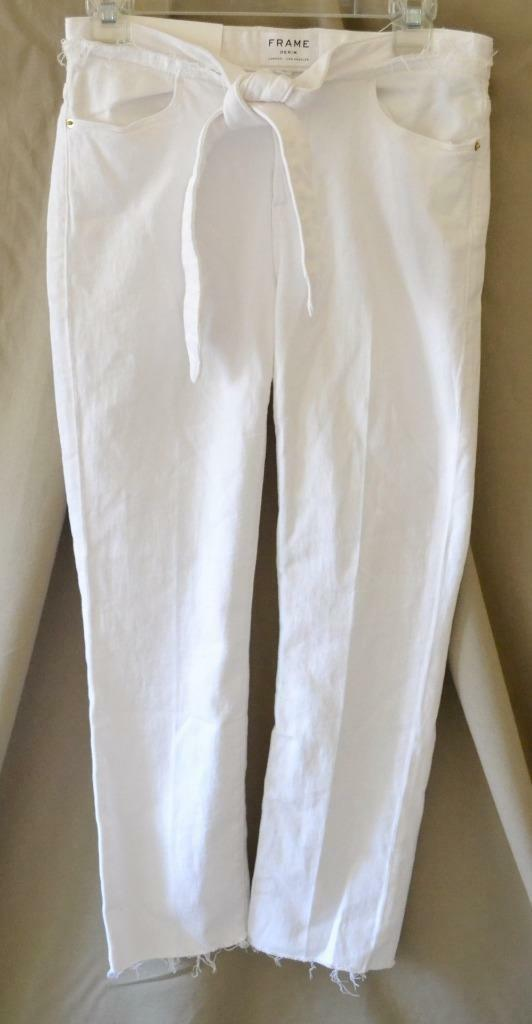 Frame Denim White Le High Straight Jeans w Knot at Waist Size 26 NWT