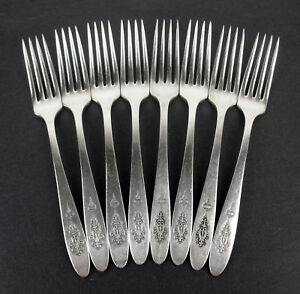 Set-8-x-Dinner-Forks-7-5-8-034-Oneida-Community-Bird-of-Paradise-1923-silverplate
