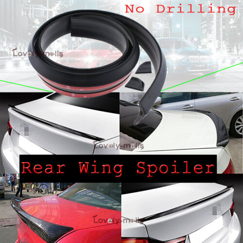 Universal No Drilling Rear Tail Fin Boot Trunk Wing Lip Spoiler Black 1x For BMW