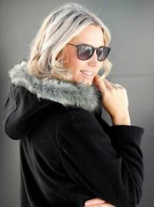 Damen Kurzmantel Wolljacke Jacke Kapuze schwarz - NEU & OVP große Größen Fell 46