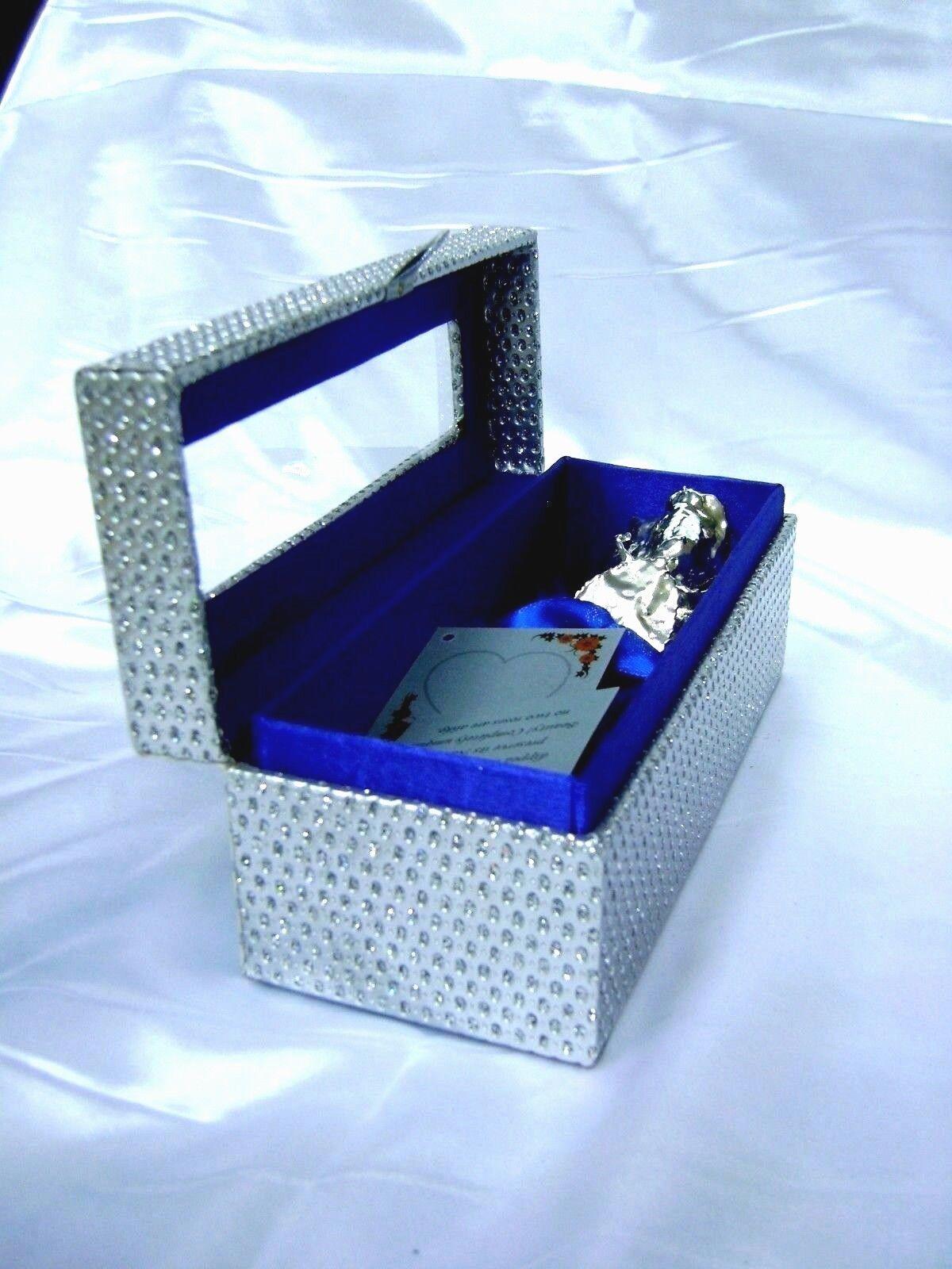 Regalo Romántico - 6 pulgadas plata sumergido Real Rose en una plata egipcio ataúd Nuevo