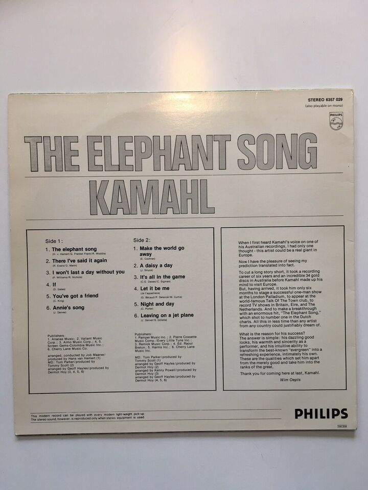 LP, Kamahl, The elephant song