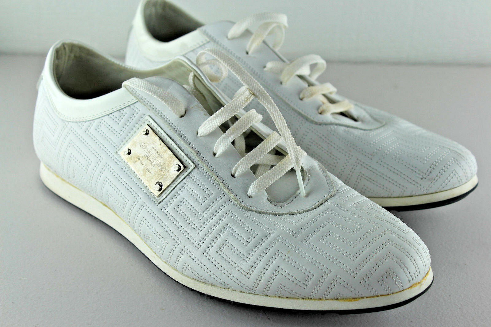Auth Gianni Versace Couture Quilted Woven White Leather Sneakers 42.5 US 9.5