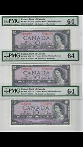 BANK-OF-CANADA-1954-10-3-CONSECUTIVE-NOTES-BEATTIE-RASMINSKY-PMG-UNC-64