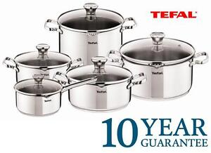 New TEFAL DUETTO Stainless STEEL Kitchen COOKWARE SET 10 PCS Glass ...