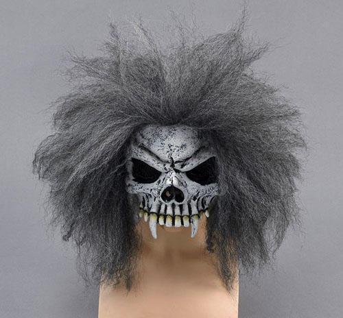 Halloween Skull Half Face Mask /& Hair Zombie Fancy Dress