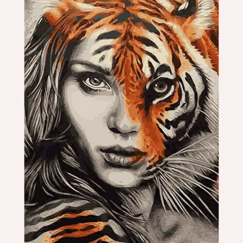 Full Drill Diamond Painting Kit Like Cross Stitch Beauty and Tiger DIY ZY210D
