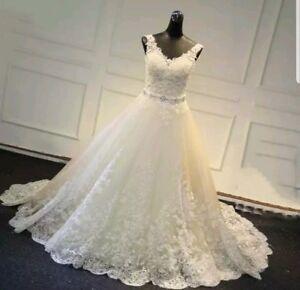 UK-White-ivory-Champagne-Lace-Sleeveless-Wedding-Dress-Bridal-Gown-Sizes-6-22