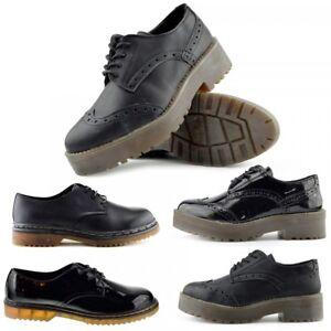 5ece445028 Women's Retro Black Lace Up Loafers Matt, Patent Chunk Sole Shoes ...