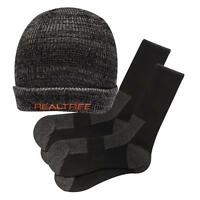 Realtree Sock & Hat Gift Set 2 Pair Socks 10-13 & Winter Gray Knit Beanie Cap