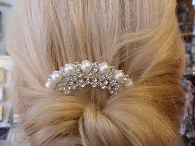 "Bridal, bridesmaid, prom. Shiny silver & pearl crystal hair comb headdress 3"""