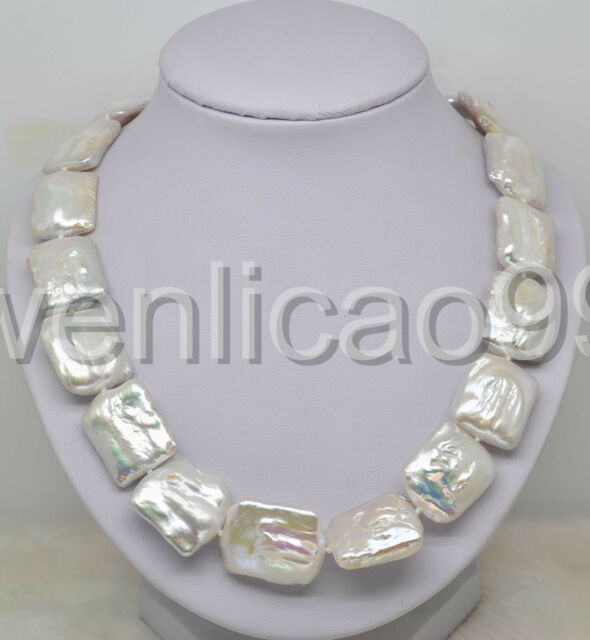 "Noble Huge size 17-19MM white square pearl necklace 18"" Long"