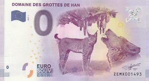 -- 2017-1b Billet Touristique 0 Souvenir -- Belgique Grottes De Han Loup Lynx Xfoastev-07231346-746891106
