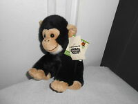 2007 Wild Republic Black Cream Monkey Ape Plush Soft Sitting 8 Rainforest Cafe