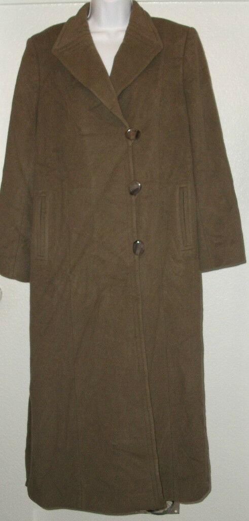 NWOT Genuine JACQUES green taupe trench wool long button coat, size 12