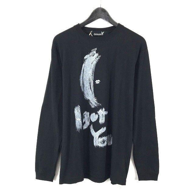 Yohji Yamamoto Ground Y graphic drawing long-sleeve T-hemd schwarz NWTs (001-043)