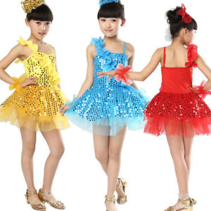 3975ea8c7ff87 Image is loading children-Latin-Skirts-Salsa-Tango-Sequin-Dance-Girl-