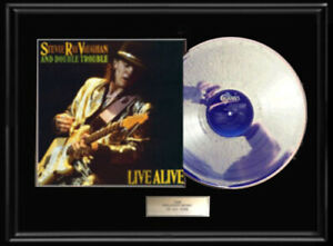 STEVIE-RAY-VAUGHAN-LIVE-ALIVE-WHITE-GOLD-SILVER-PLATINUM-TONE-RECORD-LP-RARE