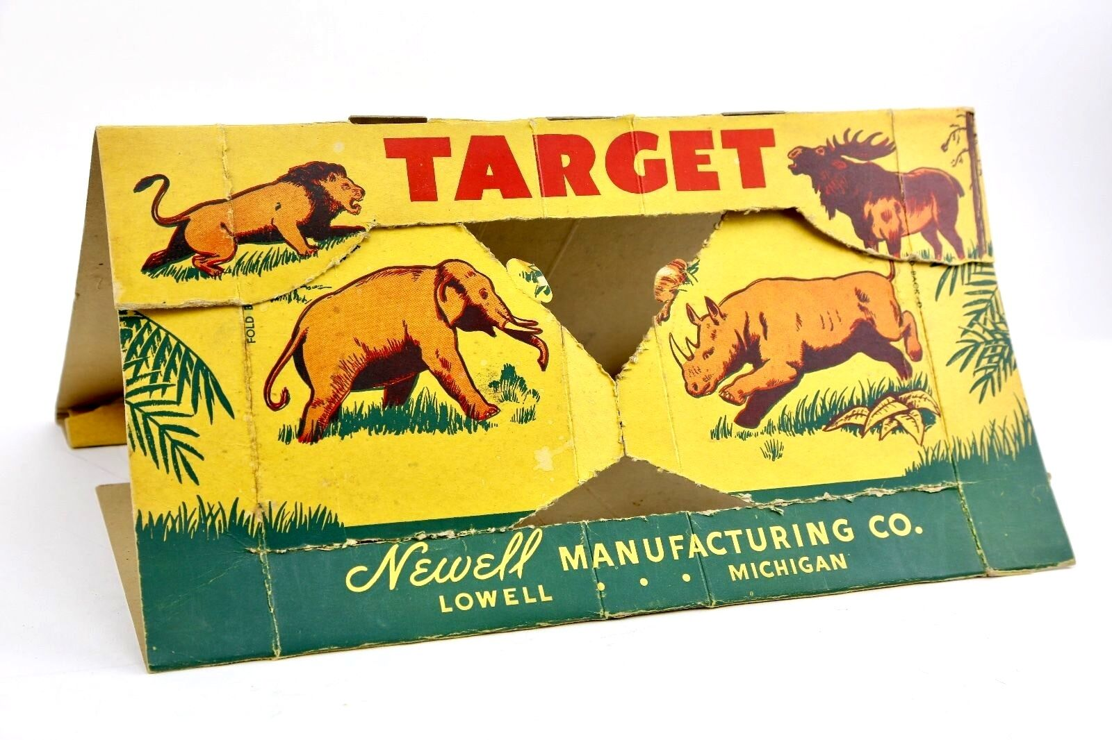 Vintage 1950s Newell Toy Ping Pong Ball Repeater Gun Cardboard Target Display