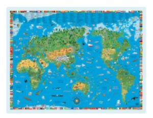 Details about LAMINATED KIDS WORLD MAP - KRUGER SCHONHOFF