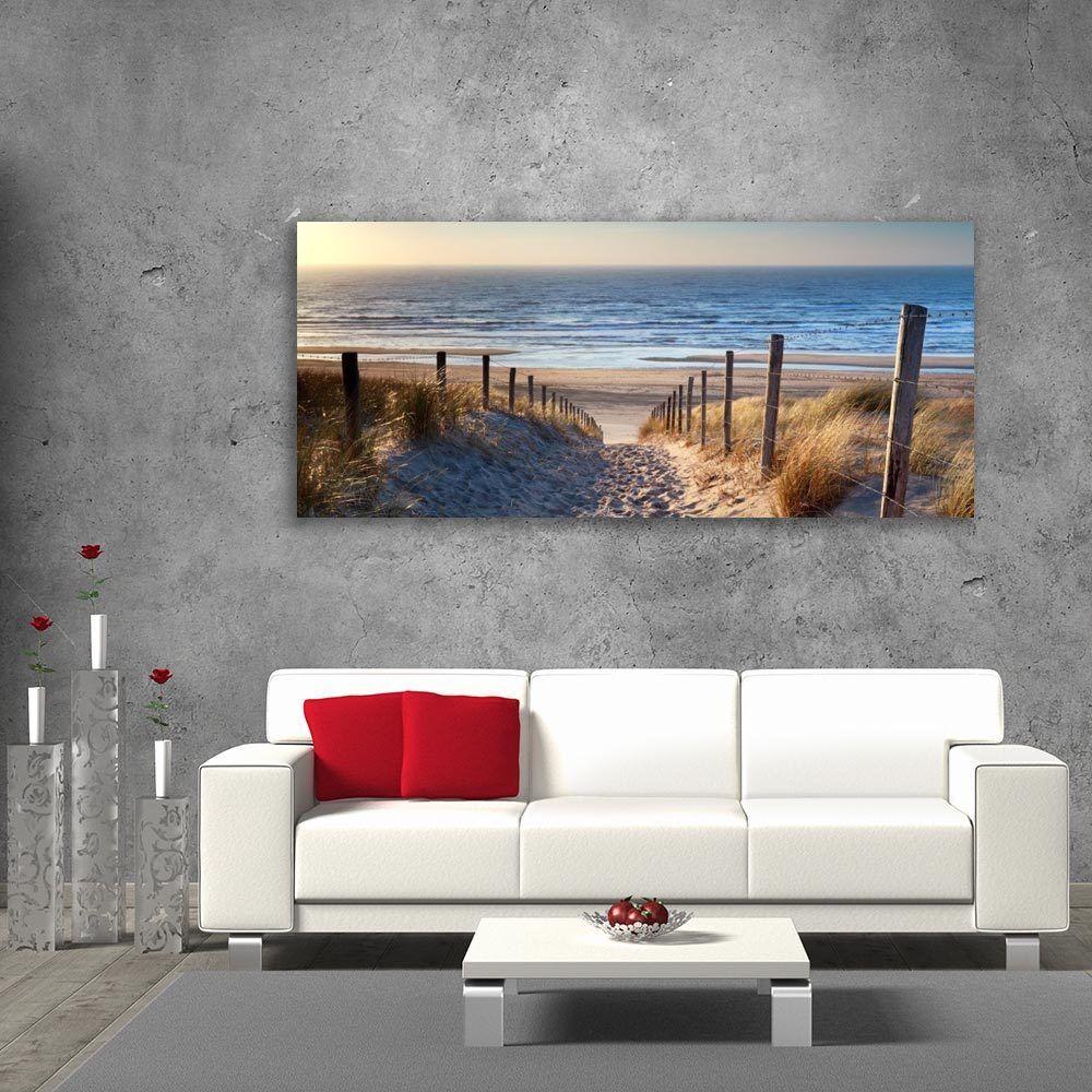 Wall Art Glass Picture Print Unique Gift Decor Path to North Sea Beach cm 125x50