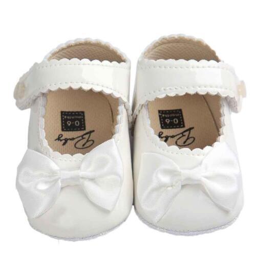 Toddler Baby Girl Bow Anti-slip Leather Christening Pram Shoes Sole Sneaker rl1