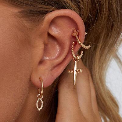 5Pcs//Set Women Gold Brincos Cross Stud Clip Earrings Chain Ear Cuff Chain Wrap