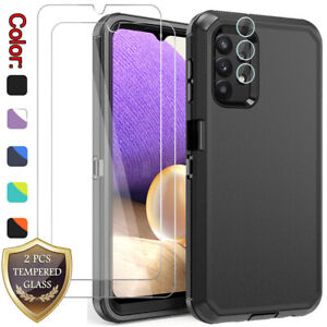 For Samsung Galaxy A32 5G Case Shockproof Cover +Tempered Glass +Lens Protector