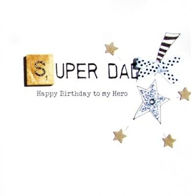 Super Dad Birthday Bexyboo Scrabbley Neon Card Handmade Greeting Cards