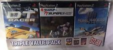 PLAYSTATION 2 PS2 TRIPLE VALUE PACK DT RACER SUZUKI SUPERBIKES REBEL RAIDERS NEW