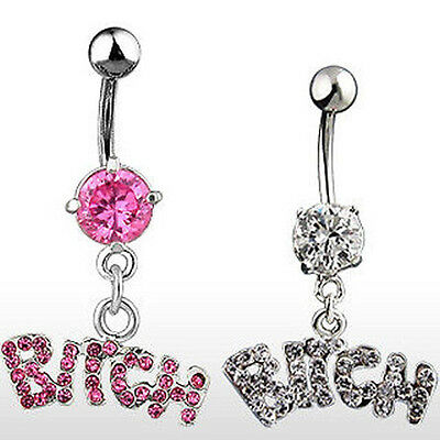 Steel Rhinestone Sexy BITCH Letter Dangle Navel Belly Button Ring Body Piercing