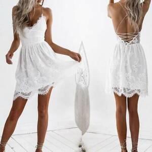 885d23597e Women V-neck White Lace Backless Evening Party Sundress Sleeveless ...