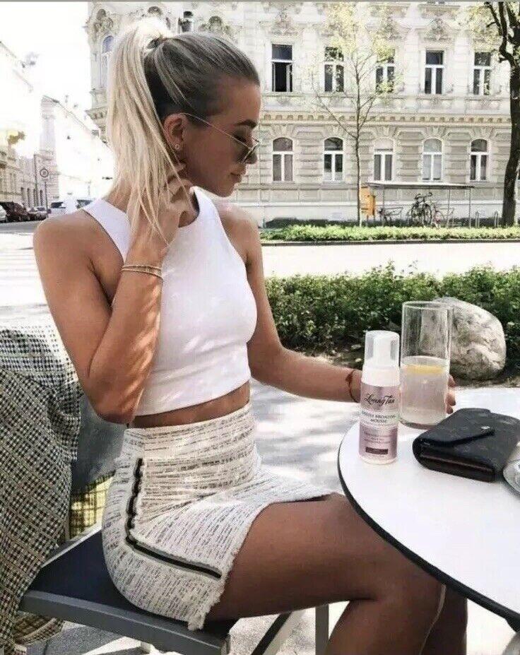 ZARA Ecru Tweed Mid Waist Mini A-line Skirt With Side Stripe S