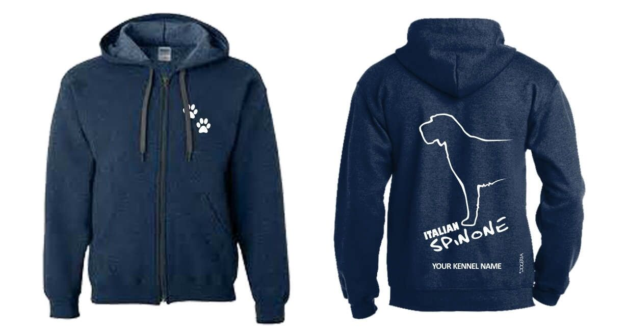 Italian Spinone Full Zipped Dog Breed Hoodie, Exclusive Dogeria Design