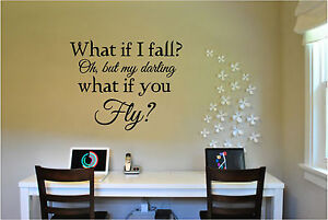 What If I Fall Quote Wall Sticker Vinyl Decals Art Home