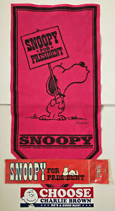 SNOOPY-FOR-PRESIDENT-LUCY-FIRST-LADY-Vintage-1968-BANNER-amp-BUMPER-STICKERS