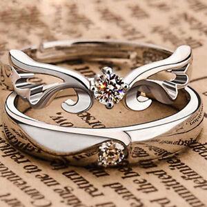1-Paar-Damen-Herren-Silber-Plattiert-Kristall-Ring-Partnerringe-Verlobungsring
