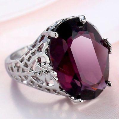 Huge Natural 6Ct Alexandrite Ring 925 Silver Bridal Wedding Engagement Size 6-10