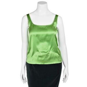 Escada-Emerald-Green-100-Silk-Charemuse-Cami-Camisole-Tank-Top-size-38-DE-8-US
