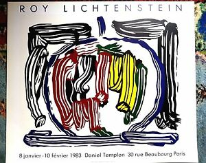 29.5x25.2 roy lichtenstein original poster 1983 paris france good ...