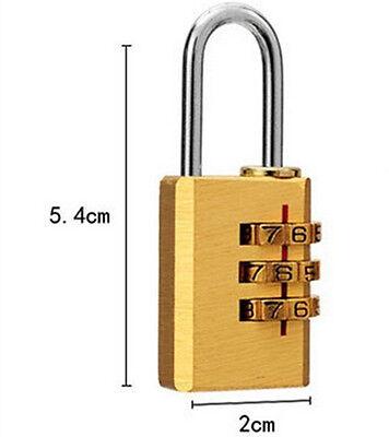 3 Digit Combination Copper Travel Suitcase Luggage Resettable Password Padlock