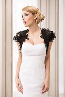 Women Black Lace Bridal Wedding Bolero Jacket S M L Xl