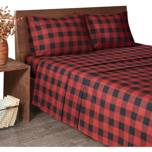 RED BUFFALO CHECKS FLANNEL SHEET SET King or Cal King ; 100/% SOFT COTTON Queen