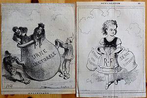 STOP-Lithographie-Le-Charivari-Caricature-Humour-XIXe-L-039-Urne-electorale