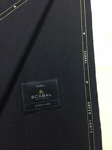 2-5-Metres-SCABAL-Navy-Two-Tone-Motif-Super-140s-Wool-Jacketing-Suit-Fabric