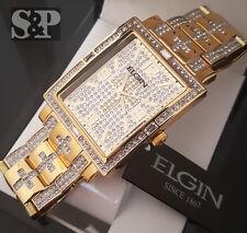 Mens Gold PT Bling Hip Hop Elgin Rectangle CZ Cross Dress Stainless Steel Watch